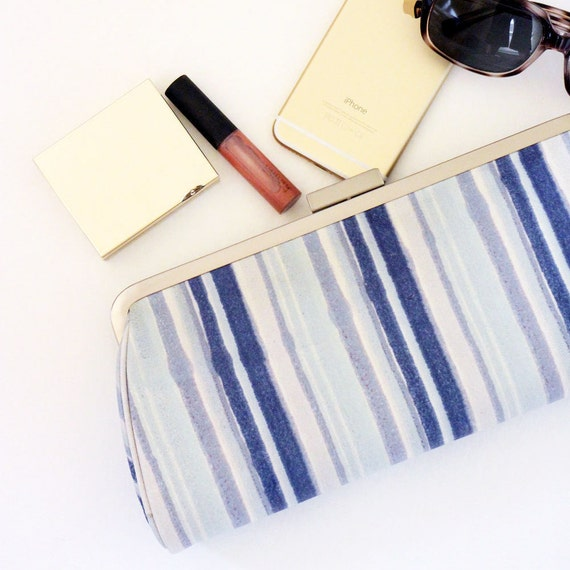 SALE - Leather Clutch / Small Handbag / Frame Clutch / Purse Clutch - Blue Stripes