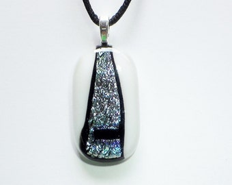 Dichroic on White Fused Glass Pendant