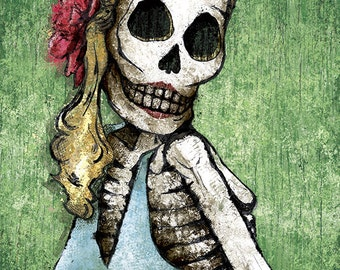 Dia de los Muertos Calavera Pin-Up - 18x24 art poster print