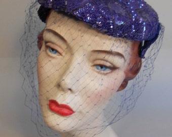 Violets Turning Violet - Vintage 1950s Violet Coloured Sequin Caplet Hat w/Veil Fascinator - Rare Colour