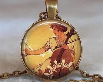 Art Nouveau Cellist pendant, musician's gift music teacher's gift cellist gift cello necklace cello pendant cello key chain key fob keychain
