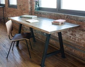 Wood Desk hand-crafted with reclaimed wood with steel A-frame legs in choice of sizes or finishes