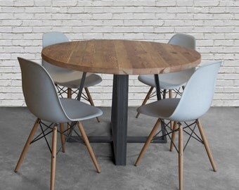 Round Dining Table Made With Reclaimed Wood And Steel Criss Cross Base In  Choice Of Color