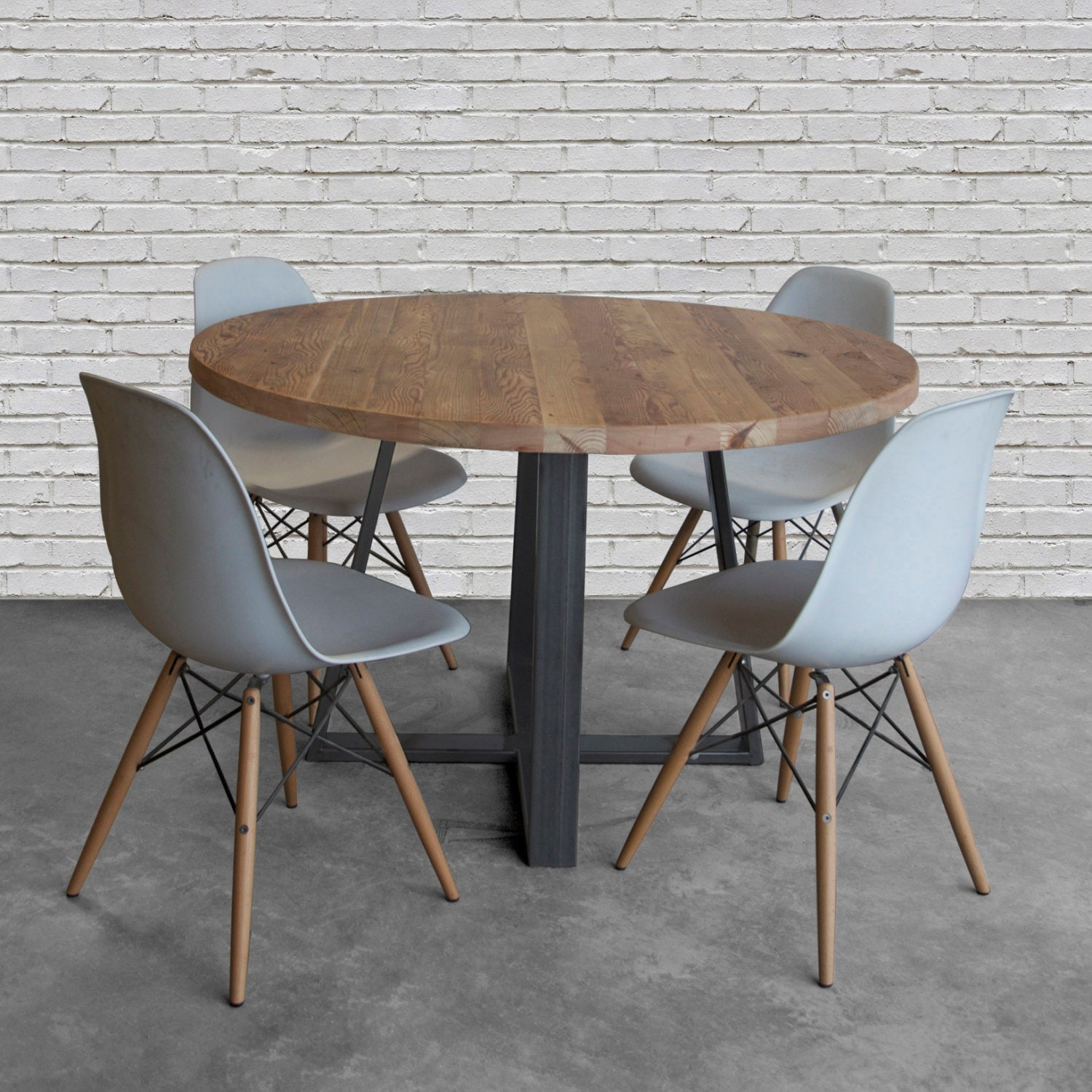 Round Wood Table In Reclaimed Wood And Steel Legs In Your