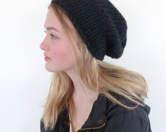 Black Chunky Knit beanie - black slouchy beanie - knit slouch hat in wool blend - unisex beanie winter accessories Winter hat