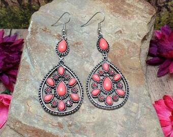 Coral Pink Bohemian Earrings, Tear Drop Earrings