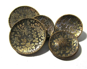Victorian Wallpaper Buttons Five (5) ANTIQUE Victorian Buttons Brass Two Piece Gold Tone Buttons Vintage Jewelry Sewing Supplies (A64)