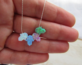 Opal hamsa necklace, Multi Color opal necklace with Sterling Silver Chain, Green Opal, Pink Opal, Blue Opal, White Opal