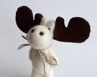 Felted Elk,Needle Felted Animal,Felted Brooch,White Wool Jewelry,Handmade Moose,Cute Gift