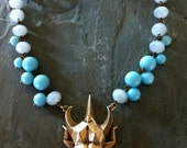Contemporary Constructivism Scarab  - Modern Beetle and Vintage Beads Necklace, 1950's Aqua Beads and Contemporary Pendant Necklace Azure