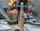 Men's Super Silvertip badger Hair wet shaving kit DE Double edge safety razor Blue turquoise Maple Burl gifts groomsmen Ready2Ship