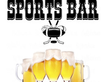 Sports Bar vinyl wall decal with a football baseball basketball and hockey, great gift idea where sports are enjoyed with spirits, DIY decor