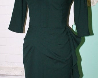 Marilyn Travel Dress Style 3/4 Sleeve Hip Drape- Wiggle Dress Pinup Work Office Fall Winter -Custom Made to order