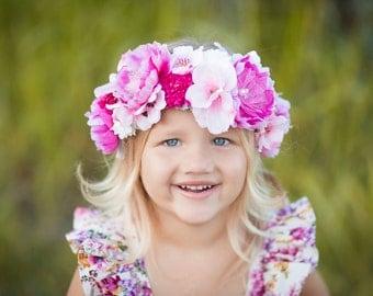 Flower Halo, Floral Crown, OOAK, Custom Flower Headband, Birthday Flower Crown