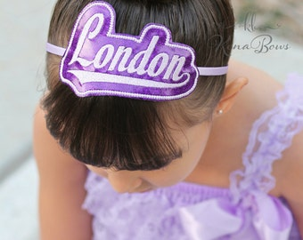 Name Headband - Glitter Personalized Headband - Embroidered - Monogrammed - Birthday Headband - You Choose Color - Girl Name Slide Hair Band
