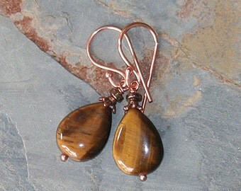 Tiger Eye Earrings, Natural Stone Earrings, Copper Earrings, Brown Gemstone Earrings, Handmade Earrings, Teardrop Earrings, Fall Earrings