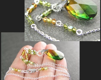 Topaz Green Necklace Sterling Silver Swarovski Amber Topaz Fern Green Crystal Necklace Green Pendant Necklace
