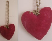 "Vintage Pink Velvet Heart Sewing Pincushion 4.5"" Pin Cushion with Beaded Chain Hanger"