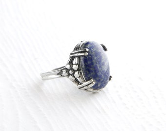 Flowery Blue Sodalite Sterling Silver Ring