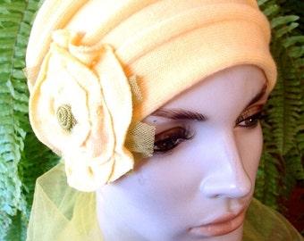 Womens Wide headband lemon head wrap with flower