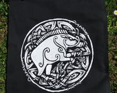 "Celtic Boar ~ ""Am torc ar gail"" // Backpatch and free patch, artwork by Sean Fitzgerald"