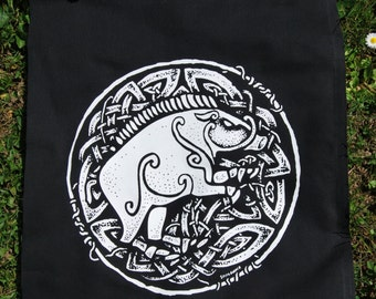 """Celtic Boar ~ """"Am torc ar gail"""" // Backpatch and free patch, artwork by Sean Fitzgerald"""