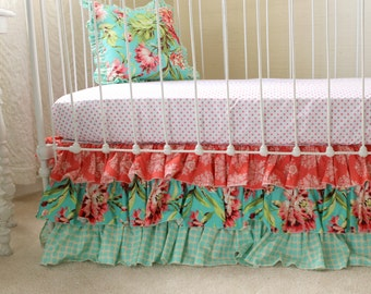 crib bedding set in peach mint gray 3 piece by lottiedababy. Black Bedroom Furniture Sets. Home Design Ideas