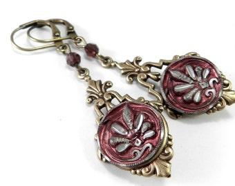 Victorian Button Earrings - Antique Button Earrings - Magenta Fuschia Blossom - Edwardian Teardrop Steampunk Earrings