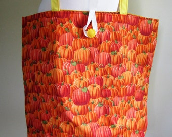 Harvest Tote Bag Fall Purse Pumpkins Autumn Leaf Lined Grocery Farmer's Market Reusable - Size Large