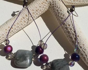 Smokey Grey Gemstone Earrings with Purple & Blue Czech Glass Pearl Beads on Sterling Silver Ear Wires