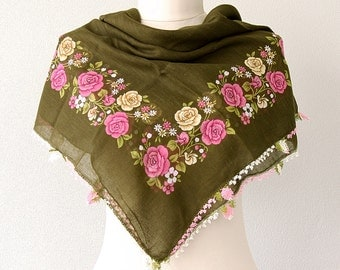 Cotton Scarf Needle lace scarf Turkish head scarves Roses Oya handmade needlework Summer shawl Square floral scarf Olive green head wrap