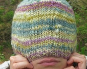 Pastel Beanie - Hand knitted beanie style cap, gold, maize soft teal, pink and mauve