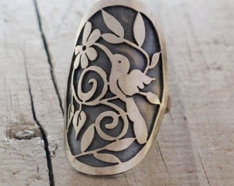 Hummingbird Rings, Sterling Silver Statement Rings Statment Victorian Bird Spoon Ring, Spoon Ring, Hummingbird Rings, Silver Rings bird ring