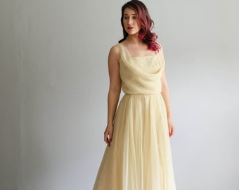 Vintage 1970s Evening Dress - 70s Chiffon Gown - Poached Pear Dress