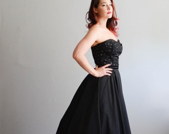 Vintage 1950s Party Dress - 50s Dress - Starry Night Dress