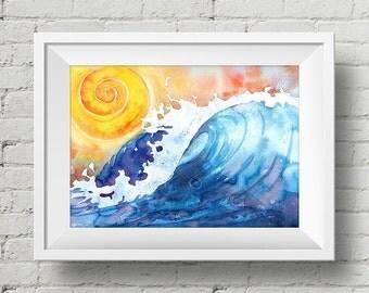 Ocean Surf : print wave ocean surfer watercolor painting