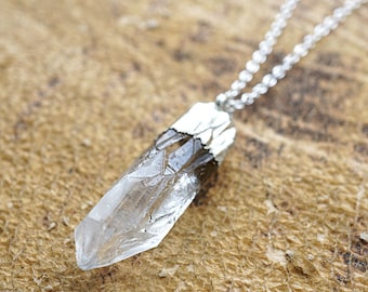 Crystal Point Necklace, Raw Clear Crystal Point, Crystal Necklace, Crystal Pendant Necklace, Silver Necklace Sterling Silver Chain