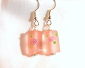 USA Frosted Glass Pink Rose Earrings - Sterling Silver Plated Surgical Steel French Hooks