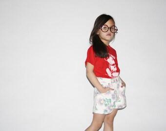 Kid's Vintage Floral Shorts -  90s floral denim shorts  -  The Pink Sunflower Shorts  - K0009
