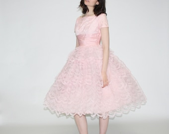 Vintage 1950s Prom Dress - 50s pastel pink lace party dress- The Cupcake Dress   - WD0187