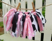 FREE Shipping in U.S..Fabric Tutu..Shabby Chic Baby..Country Baby Flair..Cow Print, Pink, White, Black Tutu..Cowgirl Baby..Photo Op Baby :)