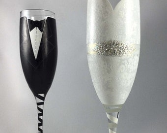 Wedding Dress and Tuxedo Toasting Flutes, hand painted champagne glasses, customized and personalized