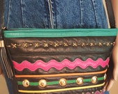Multicolor Leather Shoulder Bag with Studs and Tassle Zipper