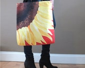 Big Tote Bag, Sunflower on Red, 16x16 inch art print tote