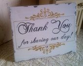 Wedding Sign with Crystals, Thank You Sign, Gold or Silver, Reception Decoration