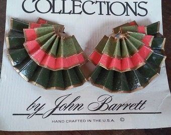 80s COLLECTIONS by JOHN BARRETT--Folded and Shellacked Paper Earrings--Painted Coral and Khaki--Folded Like Accordions