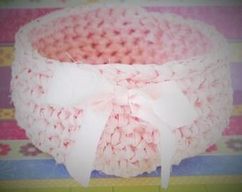 Blushing Pink Crochet Basket, Gift Basket, Crochet Basket, Mother's Day Gift Basket, Baby Girl Gift Basket, Gift, Basket
