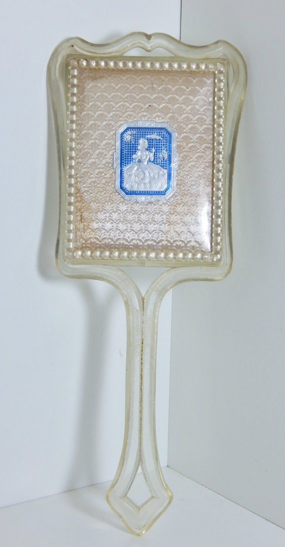 Vintage vanity hand mirror clear long handle with antique blue for Long antique mirror