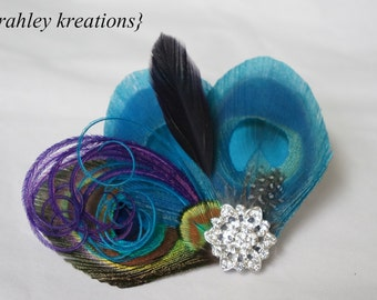 Turquoise Teal Purple Natural Green Peacock Feather KELLIE Bridesmaid Bride Wedding Prom Hair Clip Fascinator Something Blue Headpiece