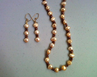 Peach and Bronze Freshwater Pearl Necklace and Earrings (0114)